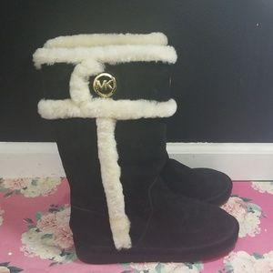 Michael Kors black sheep fur boots winter size 8